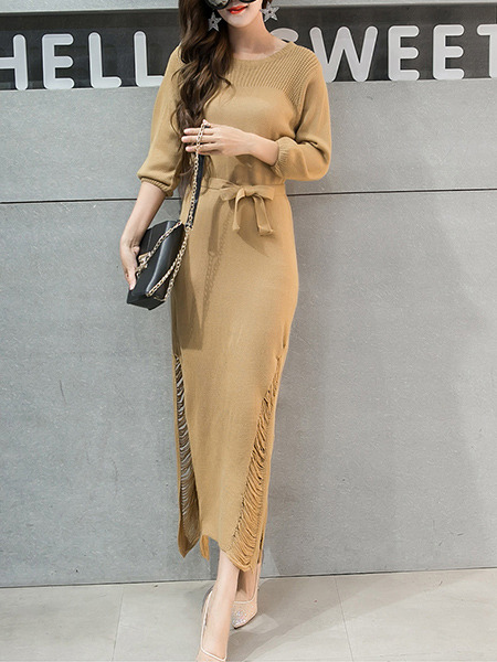 Beige Knitted Furcal Stitching Over-Hip Band Belt Holes Dress for Casual Evening Office