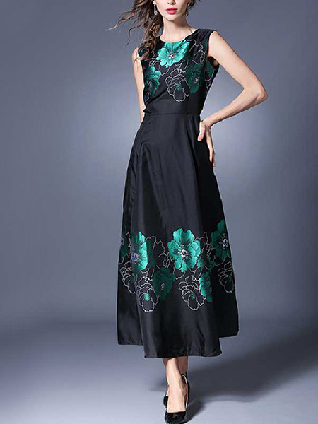 Black Chinese Satin Plus Size Full Skirt Figured Floral Dress for Casual Party Evening Office