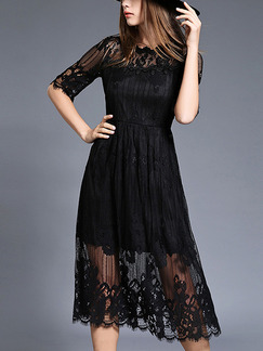 Black Slim A-Line Lace Linking See-Through Plus Size Dress for Casual Evening Office