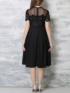 Black Slim A-Line Stand Collar Linking See-Through Contrast Lace Plus Size Dress for Casual Evening Office