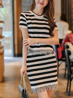 Black and White Two-Piece Knitted Stripe Tassels Above Knee Dress for Casual Party Office