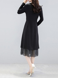 Black Plus Size Slim Two-Piece Furcal Shiner See-Through Linking Midi Long Sleeve Dress for Casual Party Evening Office