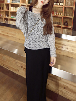 Grey and Black Two-Piece Knitted Contrast Loose Plus Size Long Sleeve Dress for Casual Office
