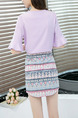 Purple Colorful Chiffon Printed Two-Piece Flare Sleeve Plus Size V Neck Above Knee Dress for Casual Party