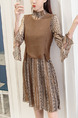 Brown Chiffon Contrast Knitted Plus Size A-Line Printed Flare Sleeve Above Knee Dress for Casual Office Party
