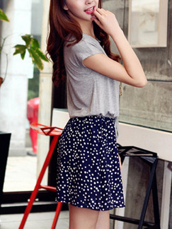 Grey and Blue Polka Dot Seem-Two Contrast Printed Drawstring Plus Size Above Knee Dress for Casual Party