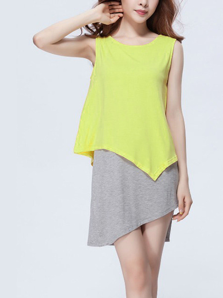 Grey and Yellow Asymmetrical Hem Seem-Two Plus Size Knitted Contrast Linking Cute Above Knee Dress for Casual Party
