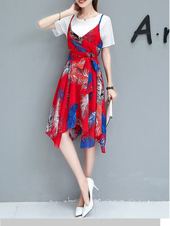Red and White A-Line Two-Piece Knitted Chiffon Asymmetrical Hem Band Belt Printed Dress for Casual Party Office