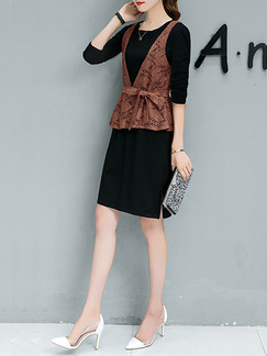 Brown and Black Plus Size V Neck Lace Contrast Furcal Band Belt Two-Piece Above Knee Dress for Casual Office Evening