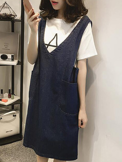 Blue and White Two-Piece Loose Plus Size Knitted Denim Dress for Casual