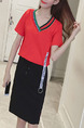 Red and Black Loose Contrast Linking V Neck Drawstring Above Knee Dress for Casual