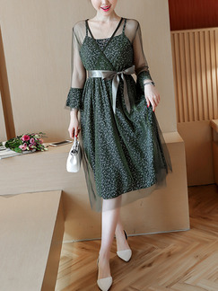 Green A-Line Slim Mesh Linking Band Belt Printed Knee Length Long Sleeve Dress for Casual Party Evening