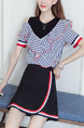 Black White and Red Slim Two-Piece Stripe Off-Shoulder Above Knee Dress for Casual Office Party