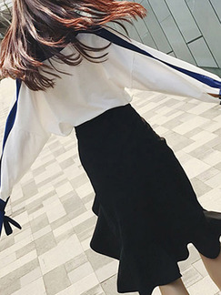 White Blue and Black Slim Two-Piece V Neck Contrast Linking Over-Hip Ruffled Drawstring Long Sleeve Knee Length Dress for Casual Office Evening