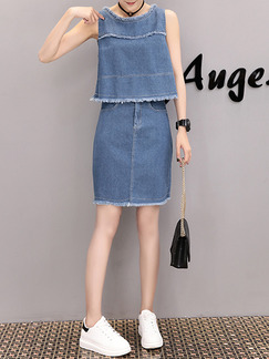 Blue Denim Two-Piece Edging Above Knee Dress for Casual