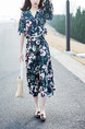 Blue Green and White V Neck Printed Two-Piece Drawstring Floral Midi Dress for Casual