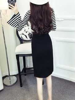 Black and White Slim Stripe Contrast Furcal Flare Sleeve Over-Hip Band Belt Knee Length Long Sleeve Dress for Casual Office Evening
