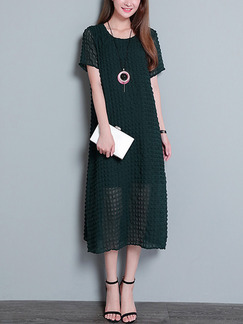 Green Loose Plus Size Literary Seersucker Midi Dress for Casual Party Office