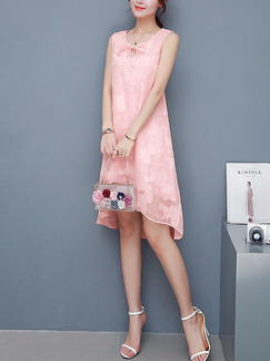 Pink Burnt-Out Loose Plus Size Asymmetrical Hem Band Belt Knee Length Cute Dress for Casual Party