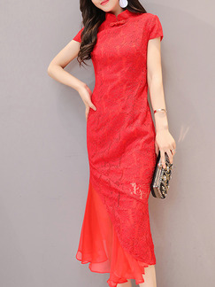 Red Lace Chinese Slim Plus Size Linking Ruffled Chinese Button Midi Dress for Casual Party Evening Office