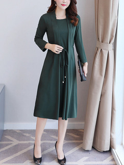 Green Plus Size Slim Seem-Two Drawstring A-Line Long Sleeve Dress for Casual Office