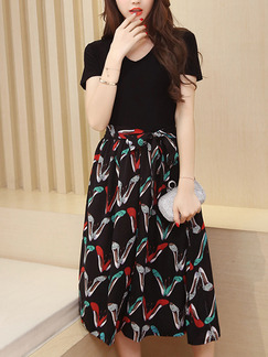 Black Colorful Slim Full Skirt V Neck Contrast Linking Band Belt Printed Midi Plus Size Dress for Casual Party Evening Office