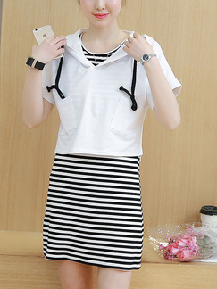 White and Black Knitted Loose Two-Piece Hooded Stripe Above Knee Dress for Casual