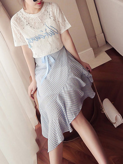 White and Blue Lace Chiffon Slim Embroidery Asymmetrical Hem Ruffled Printed Knee Length Dress for Casual