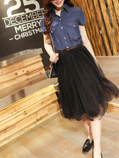 Blue and Black Denim Mesh Seem-Two Shirt A-Line Knee Length Dress for Casual Party