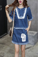 Blue Denim Two-Piece Contrast Linking Tassels Above Knee Dress for Casual