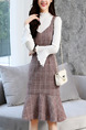 Brown and White Slim Two-Piece Strap Grid Ruffled Flare Sleeve Contrast Long Sleeve Knee Length Dress for Casual Office Evening
