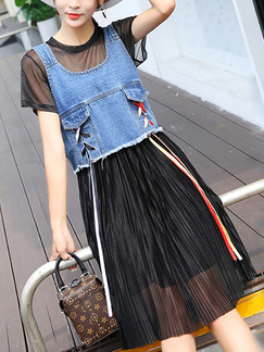 1e21c601d8 Blue and Black Denim Two-Piece A-Line Contrast Drawstring Pleated Edging Midi  Dress
