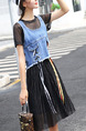 Blue and Black Denim Two-Piece A-Line Contrast Drawstring Pleated Edging Midi Dress for Casual Party