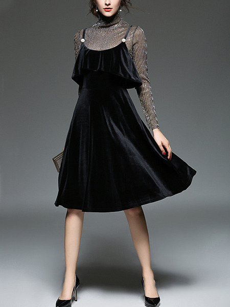 Black Velvet Shiner Slim A-Line Two-Piece Strap Ruffled Knee Length Long Sleeve Dress for Party Evening