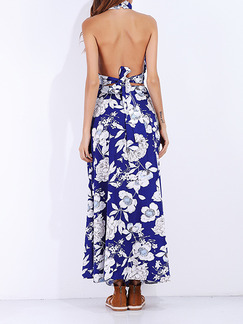 Blue and White Slim Two-Piece Printed Hang Neck Band Belt A-Line Furcal Open Back Maxi Floral Dress for Casual Beach