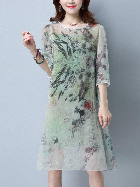 Green Two-Piece Laced Round Neck Right Fural Printed See-Through Dress for Casual