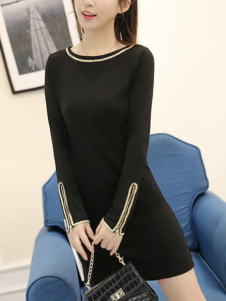 Black Plus Size Slim Over-Hip Contrast Linking Zipper Long Sleeve Dress for Casual Party Office Evening