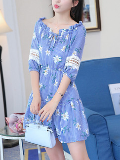 Blue Printed A-Line Off-Shoulder Band Belt Ruffled Laced Lantern Sleeve Adjustable Waist  Dress for Casual Party
