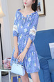 Blue Printed A-Line Off-Shoulder Band Ruffled Laced Lantern Sleeve Adjustable Waist  Dress for Casual Party