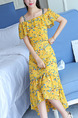 Yellow Colorful Printed Off-Shoulder Ruffled Strap Fishtail Dress for Casual Party
