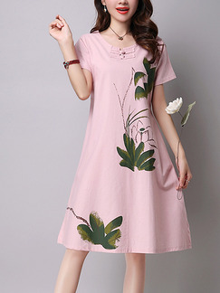 Pink and Green Plus Size A-line Located Printing Round Neck Chinese Button Dress for Casual
