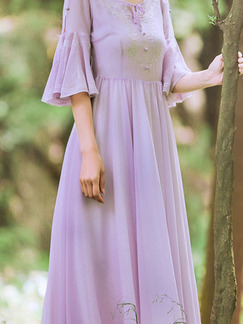 Purple Round Neck Buckled Band Belt Flare Sleeve Full Skirt Dress for Bridesmaid Prom