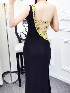 Black Slim Over-Hip One Shoulder Open Back Cutout Flanger Dress for Cocktail Ball Prom