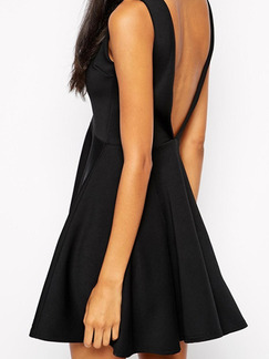 Black Slim A-Line Open Back V See-Through Dress for Cocktail Prom Semi Formal Party Evening