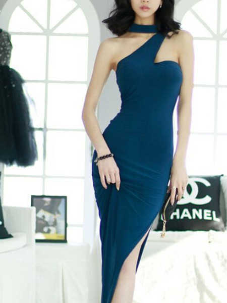 Blue Slim Over-Hip Hang Neck Low Chest Open Back Furcal Dress for Cocktail Party Evening