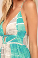 Green White and Grey Contrast Located Printing V-Neck Sling Full Skirt Dress for Casual Beach