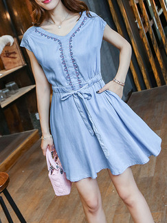 Blue Denim V Neck Embroidery Adjustable Waist Band Above Knee Dress for Casual Party