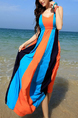 Orange Blue and Black Slim Sling V Neck Contrast Linking Full Skirt Dress for Casual Beach