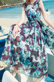 Blue Violet and White Slim Printed Round Neck Plus Size Zipper Back Full Skirt Dress for Casual Beach