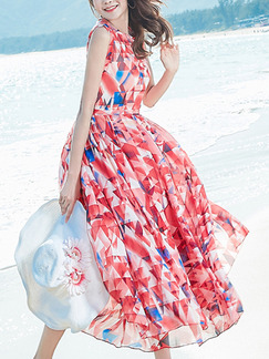 Red Blue and White Slim Printed Round Neck Plus Size Zipper Back Full Skirt Dress for Casual Beach